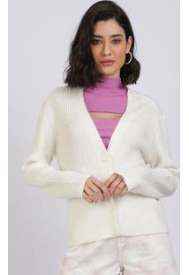 Cardigan Feminino Básico Em Tricô Com Botões Branco