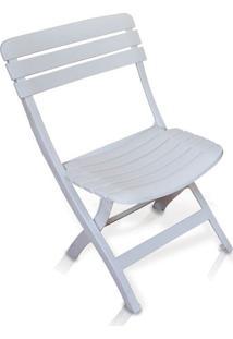 Cadeira Diamantina Plástica Dobrável Ripada Branco