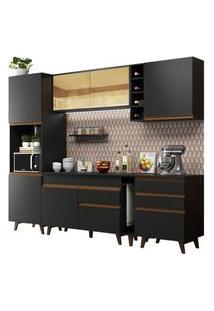 Cozinha Completa Madesa Reims 260004 Com Armário E Balcão Preto Cor:Preto