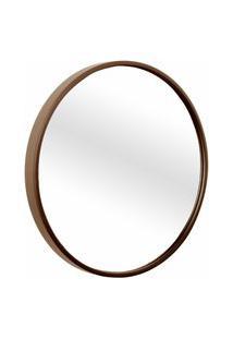Espelho Decorativo Round Externo Marrom 20 Cm Redondo