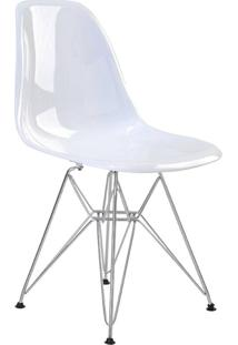 Cadeira Sem Braço Pc Base Madeira Eiffel -Rivatti - Branco