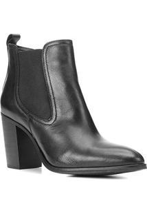 Bota Chelsea Shoestock Couro Salto Alto Feminina - Feminino