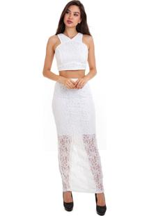 Blusa Kinara Cropped Renda Branco