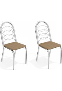 Conjunto Com 2 Cadeiras De Cozinha Holanda Cromado E Capuccino