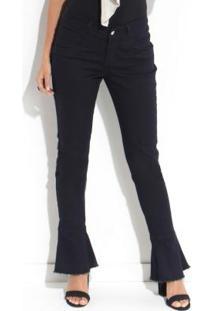 9504d8aff4 ... Calça Jeans Quintess Com Barra Desfiada Preta