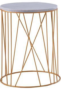 Mesa De Apoio Trama 45 Cm Alta Aço Dourado / Mármore Branco - Gran Belo