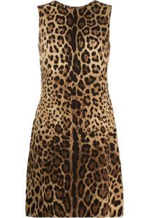 Dolce & Gabbana Vestido Reto Com Padronagem Animal Print - Marrom