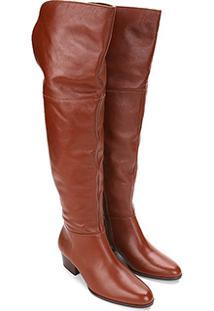 35656d2d3 ... Bota Couro Over The Knee Shoestock Zíper Feminina - Feminino-Caramelo