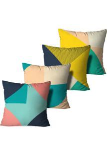Kit 4 Capas Para Almofadas Decorativas Love Decor Geométrico Multicolorico Verde