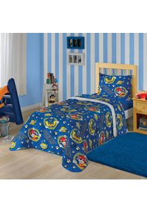 Edredom Solteiro Estampado Patrulha Canina Menino 1,50 M X 2,20 M Com 1 Peça Lepper Azul