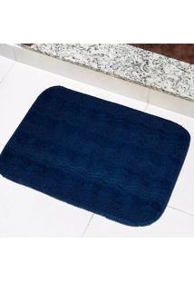 Tapete Para Banheiro Tapetes Junior Esmeralda Em Polipropileno 40X60Cm Azul Petróleo Antiderrapante