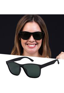 Óculos De Sol Preto Feminino Quadrado Polarizado