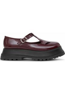 Burberry Sapato De Couro Envernizado - Vermelho