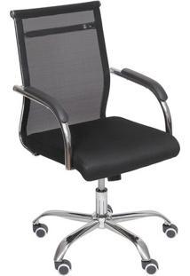 Cadeira Office Toronto- Preta & Prateada- 99X54X48Cmor Design