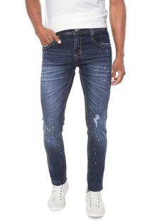 Calça Jeans Sawary Skinny Estonada Azul-Marinho