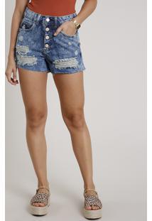 Short Jeans Feminino Mom Cintura Super Alta Destroyed Azul Médio