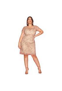 Vestido Almaria Plus Size Pianeta Tule Bronze