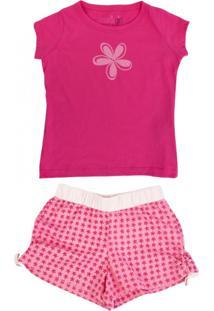 Pijama Camiseta Manga Curta E Short Doll - Mariagirl Rosa