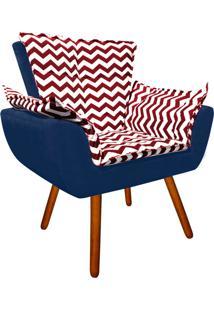 Poltrona Decorativa Opala Suede Composê Estampado Zig Zag Vermelho D79 E Suede Azul Marinho - D'Rossi