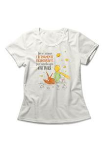 Camiseta Feminina O Pequeno Príncipe Off-White