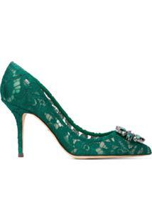 a190a75893 ... Dolce   Gabbana Scarpin Bellucci 90 Com Renda - Verde