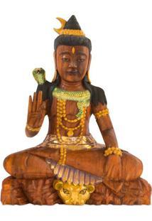 Estátua Shiva Em Madeira 50Cm   Bali