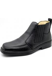Botina Couro Doctor Shoes Magnética 915 Elástico Preta