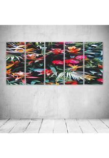 Quadro Decorativo - Flowers261 - Composto De 5 Quadros - Multicolorido - Dafiti