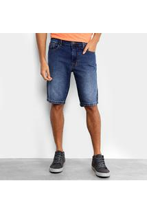 Bermuda Jeans Coca-Cola Estonada Confort Masculina - Masculino-Azul