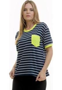 Camiseta Aura Bolsinho - Feminino-Azul Escuro