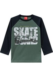 "Camiseta ""Skate Board""- Verde Escuro & Pretakyly"