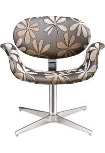 Poltrona Tulipa Base Giratoria Aluminio Chenile Flor - 12384 - Sun House