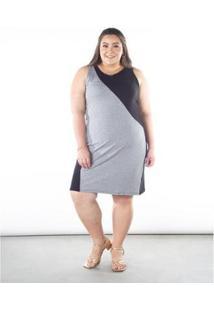 Vestido Lunender Canelado Plus Size Recorte Feminino - Feminino