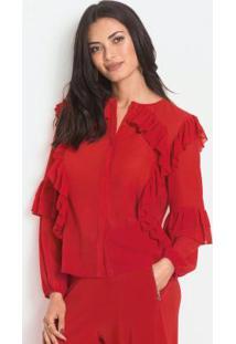 Blusa Com Babados Vermelha E Abertura Frontal