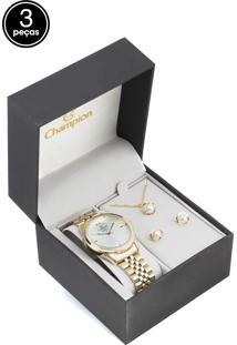 Kit 3Pçs Relógio Champion Cn25771B Dourado