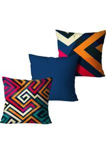 Kit 3 Capas Love Decor Para Almofadas Decorativas Color Abstrato Multicolorido Azul