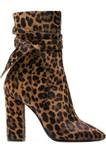 Saint Laurent Ankle Boot Com Estampa De Leopardo - Marrom