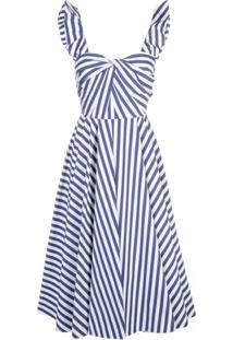 Jason Wu Collection Vestido Evasê Listrado - Azul