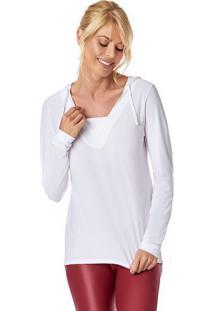 Blusa Com Capuz & Recortes- Branca- Vestemvestem