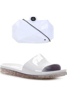 Kit Shoestock Rasteira Slide + Bolsa Clutch Feminina - Feminino-Prata+Branco