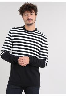 Suéter Masculino Listrado Em Tricô Preto