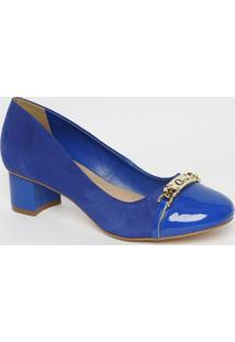 Sapato Tradicional Com Tira Envernizado- Azul Royal-Carmen Steffens