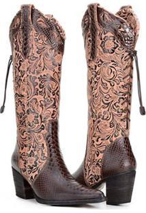 Bota Texana Country Capelli Boots Anaconda Couro Com Detalhe Em Elástico Feminina - Feminino-Café