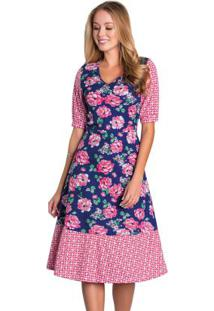Vestido Evasê Mix De Estampas Moda Evangélica