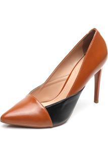 2c0d2f7e1 ... Scarpin Dafiti Shoes Recorte Bico Fino Caramelo/Preto