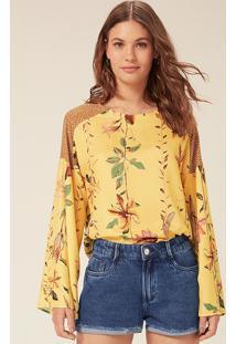 Blusa Estampada Em Crepe De Viscose Manga Longa - Amarelo