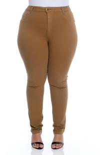 Calã§A Plus Size Cambos Caramelo Sarja Skinny - Marrom - Feminino - Dafiti
