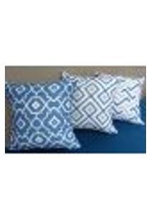 Conjunto 3 Capas Almofadas Em Suede 43X43Cm - Azul Com Cinza