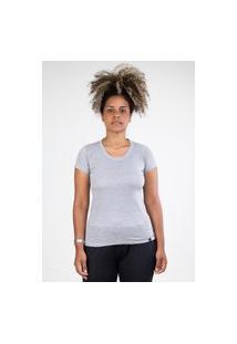 Camiseta Meio Swag Básica Gola Redonda Cinza Claro
