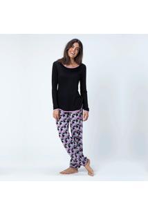 Pijama Joge Longo Tricot Multicolorido